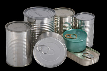 Seven different shape and colors cans isolated