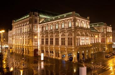 Vienna State Opera in night, Austria
