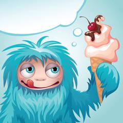 monster yeti eating ice cream