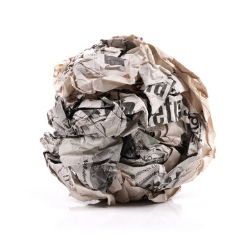 newspaper ball isolated on a white background
