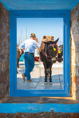 Donkey driver with mobile phone view threw window frame