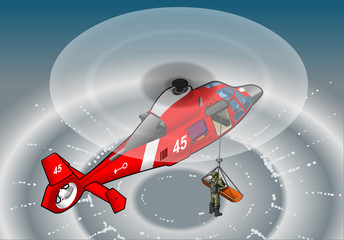 Aluminium Prints Military isometric red helicopter in flight in rescue