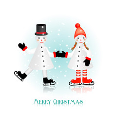 christmas greeting card with two figurines