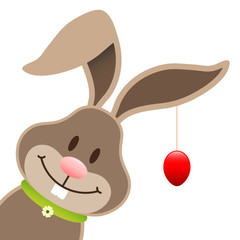 Easter Bunny Hanging Red Easter Egg Diagonal