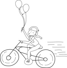 freehand sketch cartoon girl relax riding on bicycle