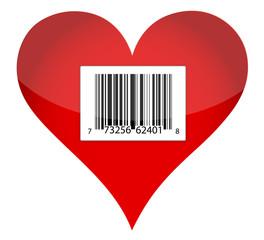 barcode heart illustration design