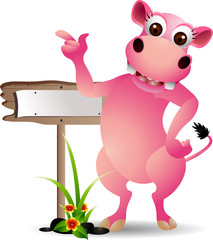 cute hippo cartoon with blank board