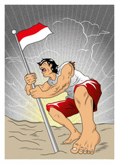 An Indonesian crusader defending national flag