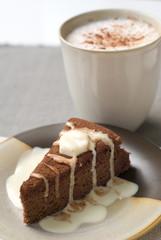 Morning coffee with chocolate cake.