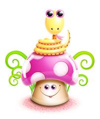 Whimsical Kawaii Cute Cartoon Snake on Mushroom