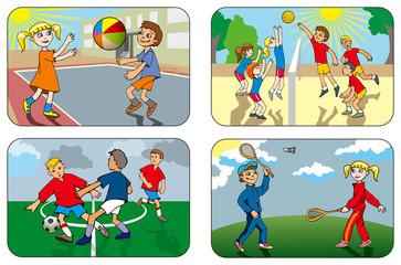 Children play different outdoor games, vector