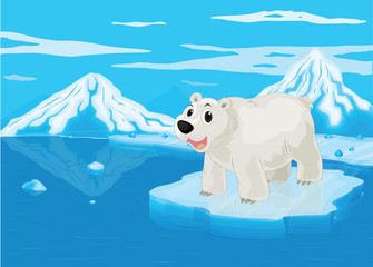 In de dag Beren polar bear and snowy mountain