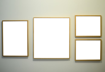 Picture frames on gallery wall