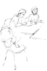 a sketch two women at the table in an office work
