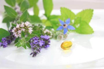 Wall Mural - Fresh herbs and capsule