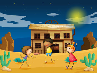 Aluminium Prints Wild West kids and a house