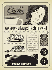 Retro banner for a girl with coffee cup