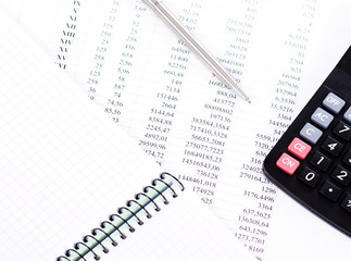 calculator and the financial report