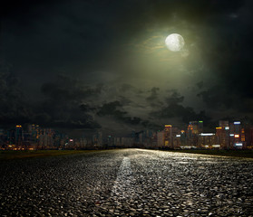 Poster Pleine lune The road to the city