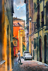 Roman cityscape painted by watercolor