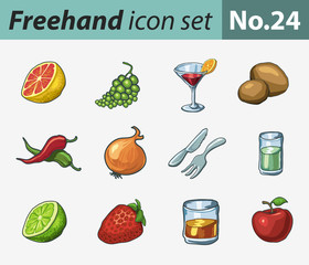 freehand icon set - food and drink