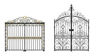 Black forged gates with decorative lattice isolated on white