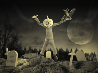 Fiesta Halloween Con Zombie y Murciélago