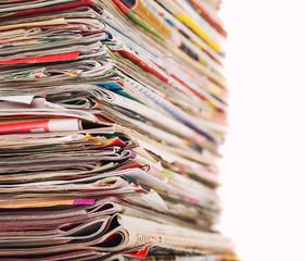 Magazines stack close-up