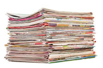 Magazines stack isolated on white