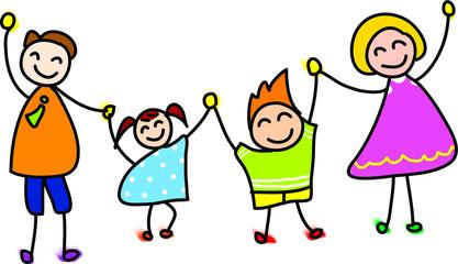 happy family hand drawn cartoon