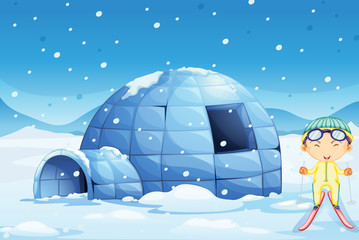 an igloo and a boy