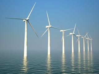 3d wind turbines producing energy in sea
