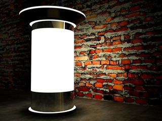 3d blank advertising column on wall at night