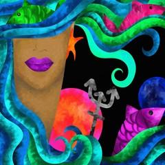 Foto auf AluDibond Klassische Abstraktion segni zodiacali astratti - pesci