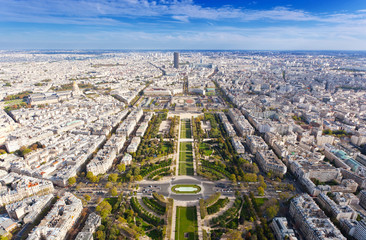 Top view on famous Champs de Mars. Paris. France