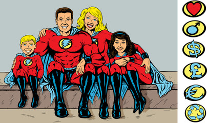 Photo sur cadre textile Super heros Super hero family