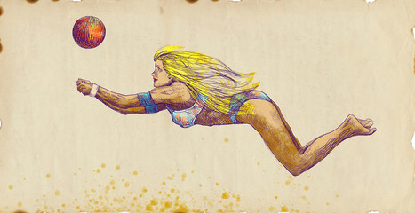 Volleyball player (Beach volleyball). Full-sized hand drawing