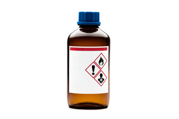 Brown glass chemical bottle isolated on white background