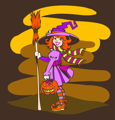 Funny Little Halloween Witch with Pumpkin