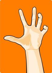 Hand on an orange background