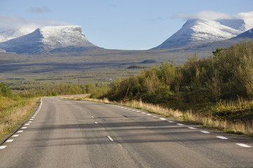 Mountain road in north of Sweden