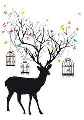 Ingelijste posters Vogels in kooien Deer with birds and birdcages, vector