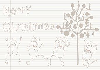 Christmas card with snowman and tree