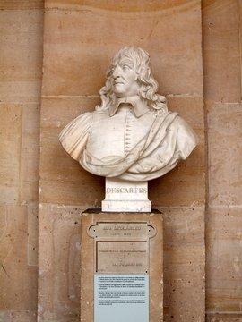 Descartes sculpture at Versailles palace in Paris city