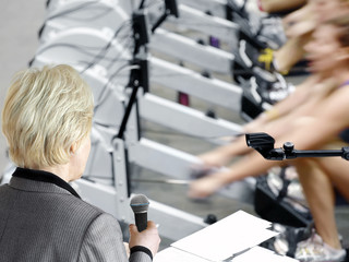 Fotobehang Zeilen Ready for Interview During a Rowing Machines Competition