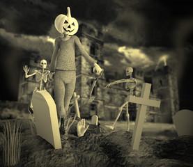Fiesta Halloween Con Zombie y Esqueleto