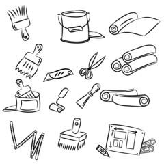 cartoon drawings of DIY tools for decorating and renovating