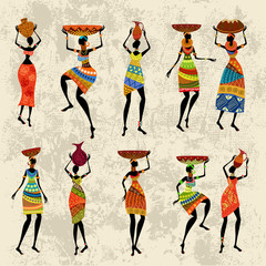 African woman on grunge background