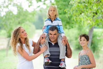 Happy Three Generations Family Outdoor