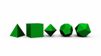 3D Platonische Körper der heiligen Geometrie - Grün